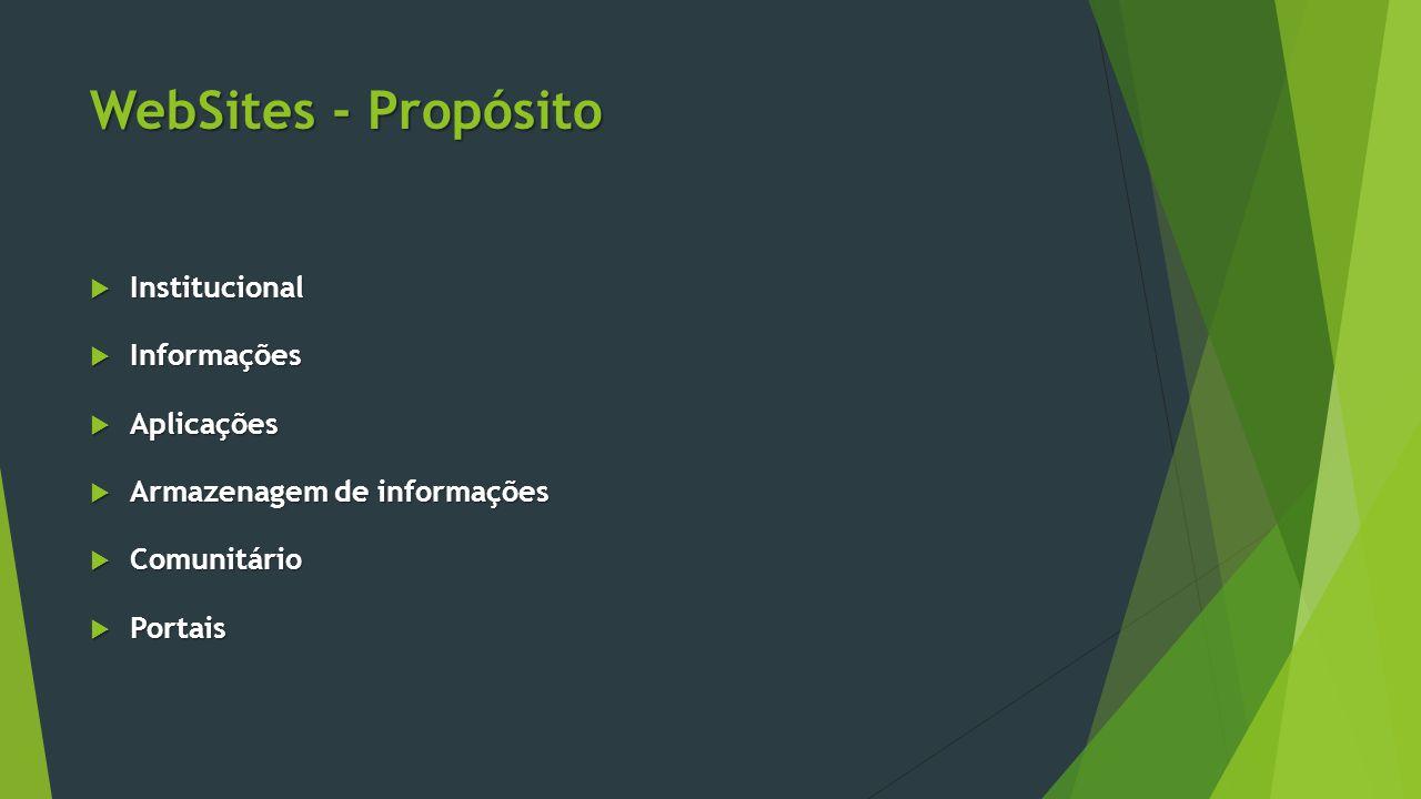 WebSites - Propósito Institucional Informações Aplicações