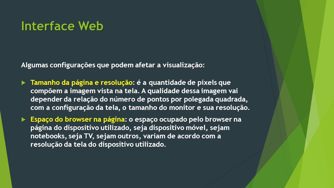 Interface Web Algumas configurações que podem afetar a visualização: