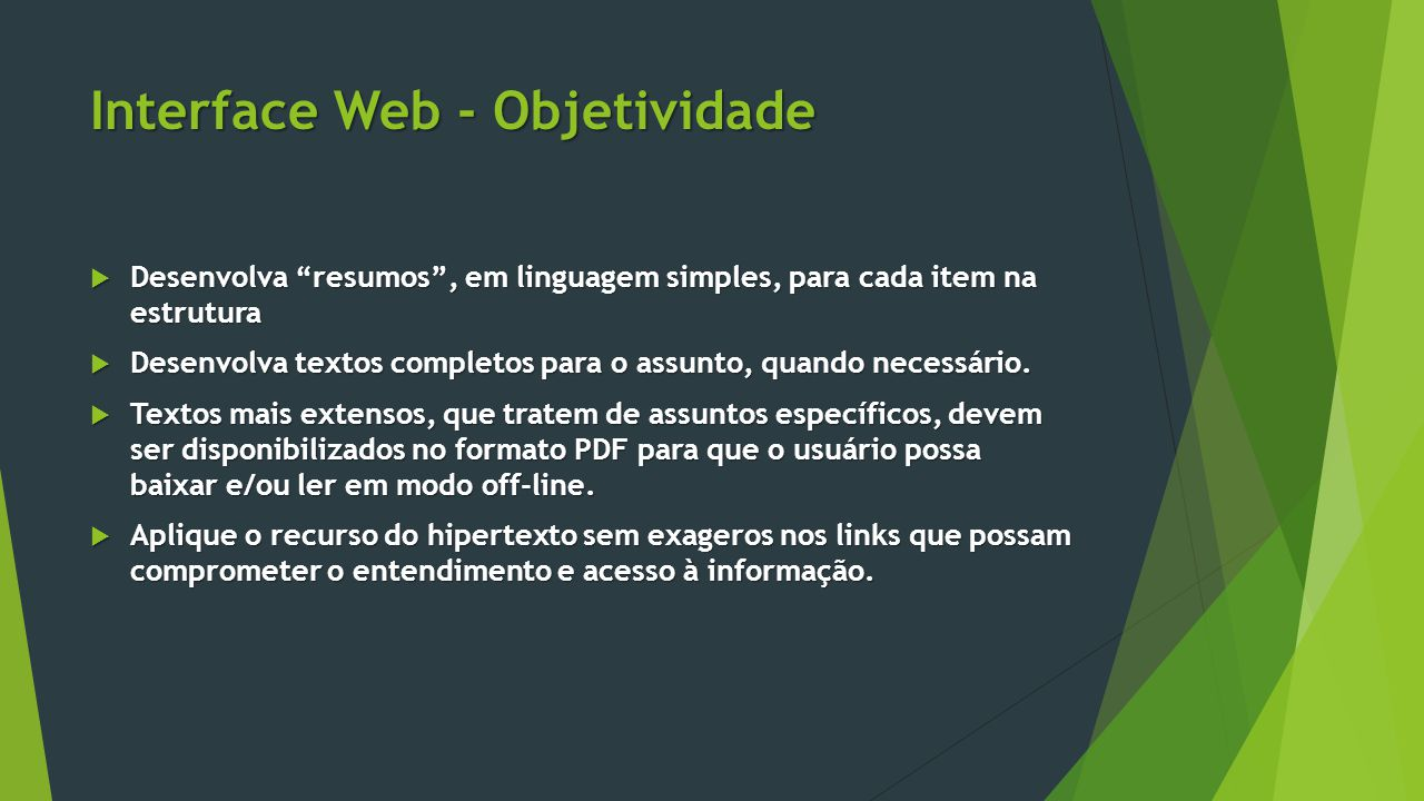 Interface Web - Objetividade