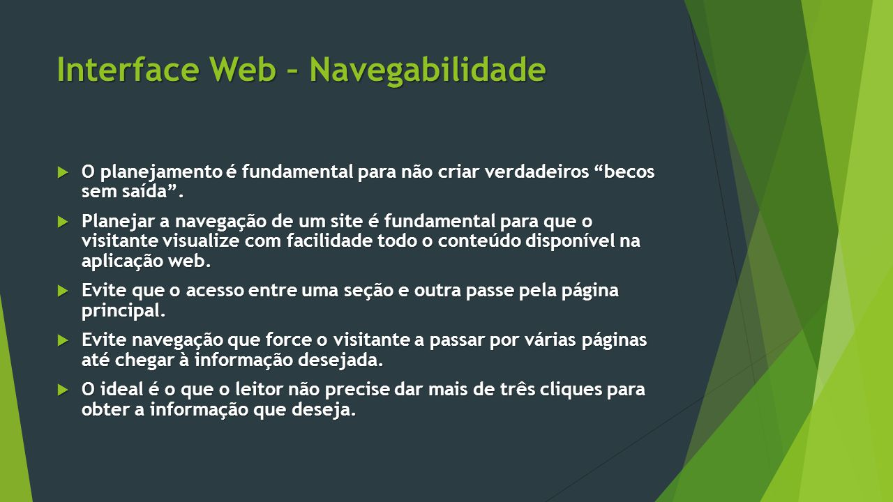 Interface Web – Navegabilidade