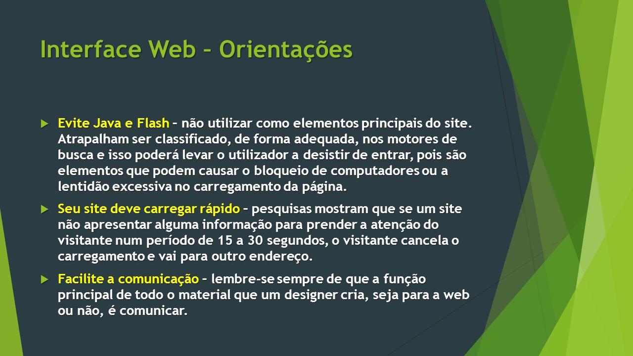 Interface Web – Orientações