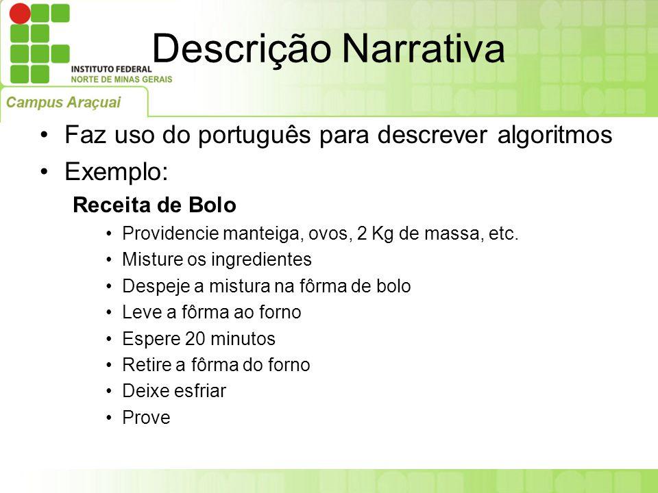 Descrição Narrativa Faz uso do português para descrever algoritmos