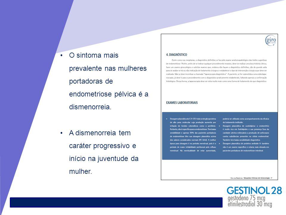 O sintoma mais prevalente nas mulheres portadoras de endometriose pélvica é a dismenorreia.