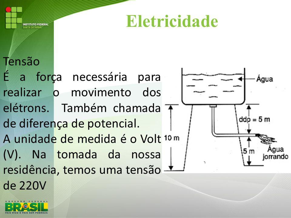 Eletricidade Tensão. É a força necessária para realizar o movimento dos elétrons. Também chamada de diferença de potencial.