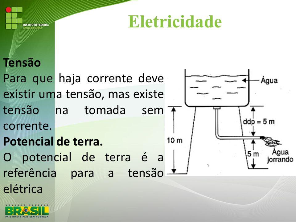 Eletricidade Tensão. Para que haja corrente deve existir uma tensão, mas existe tensão na tomada sem corrente.