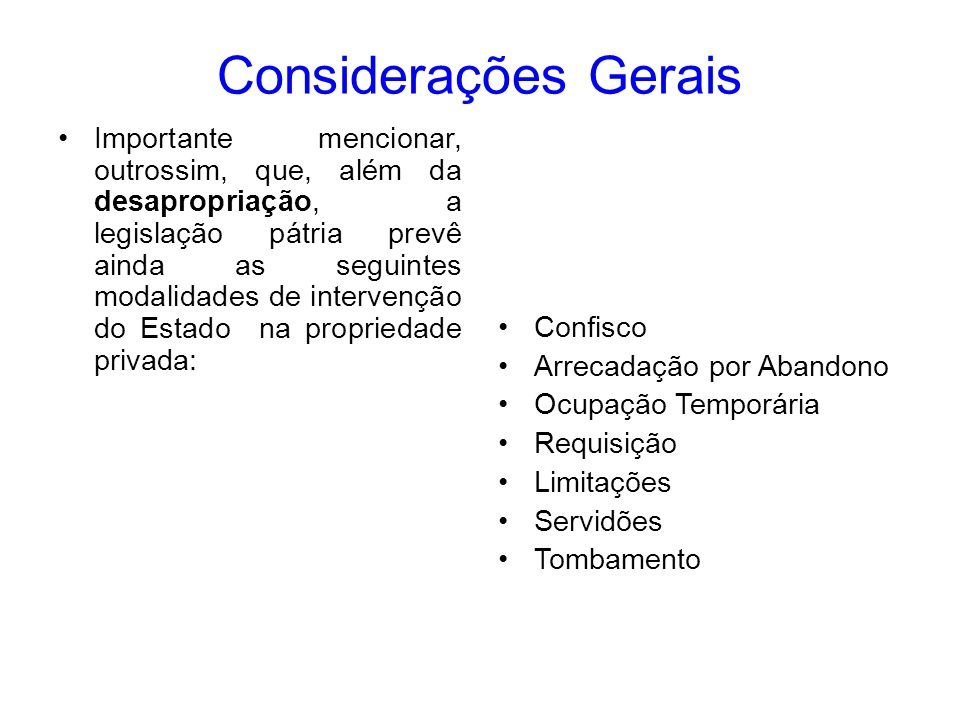 Considerações Gerais