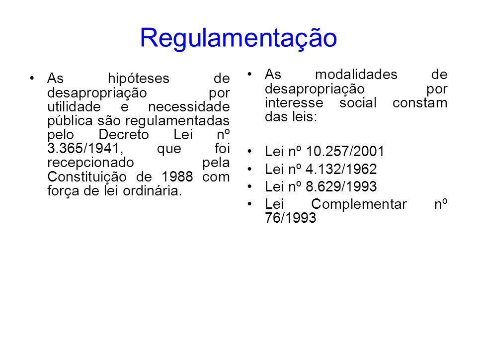 Regulamentação As modalidades de desapropriação por interesse social constam das leis: Lei nº 10.257/2001.
