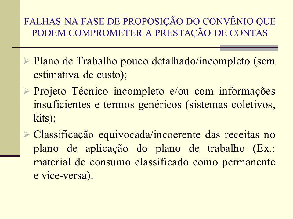 FALHAS NA FASE DE PROPOSIÇÃO DO CONVÊNIO QUE PODEM COMPROMETER A PRESTAÇÃO DE CONTAS