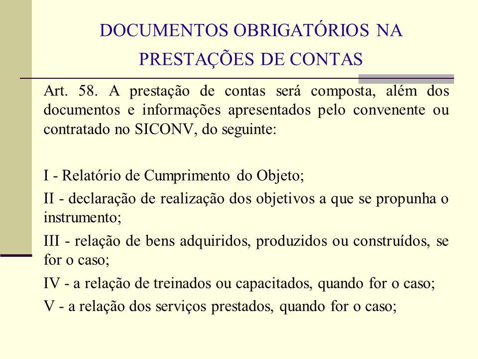 DOCUMENTOS OBRIGATÓRIOS NA PRESTAÇÕES DE CONTAS