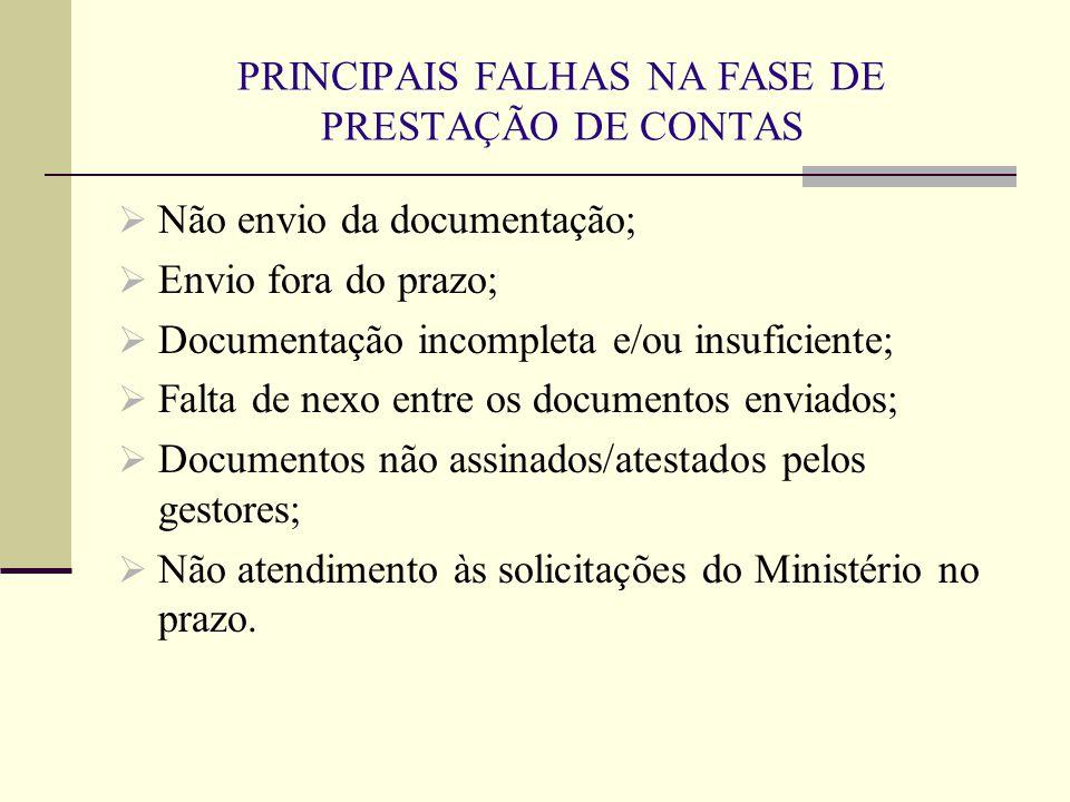 PRINCIPAIS FALHAS NA FASE DE PRESTAÇÃO DE CONTAS