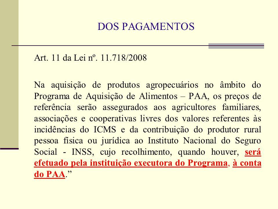 DOS PAGAMENTOS Art. 11 da Lei nº. 11.718/2008