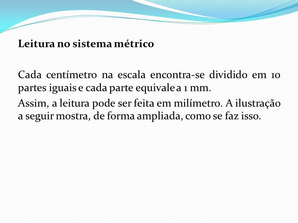 Leitura no sistema métrico Cada centímetro na escala encontra-se dividido em 10 partes iguais e cada parte equivale a 1 mm.