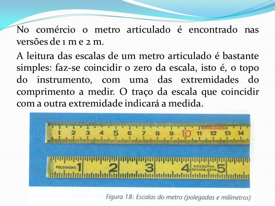 No comércio o metro articulado é encontrado nas versões de 1 m e 2 m.