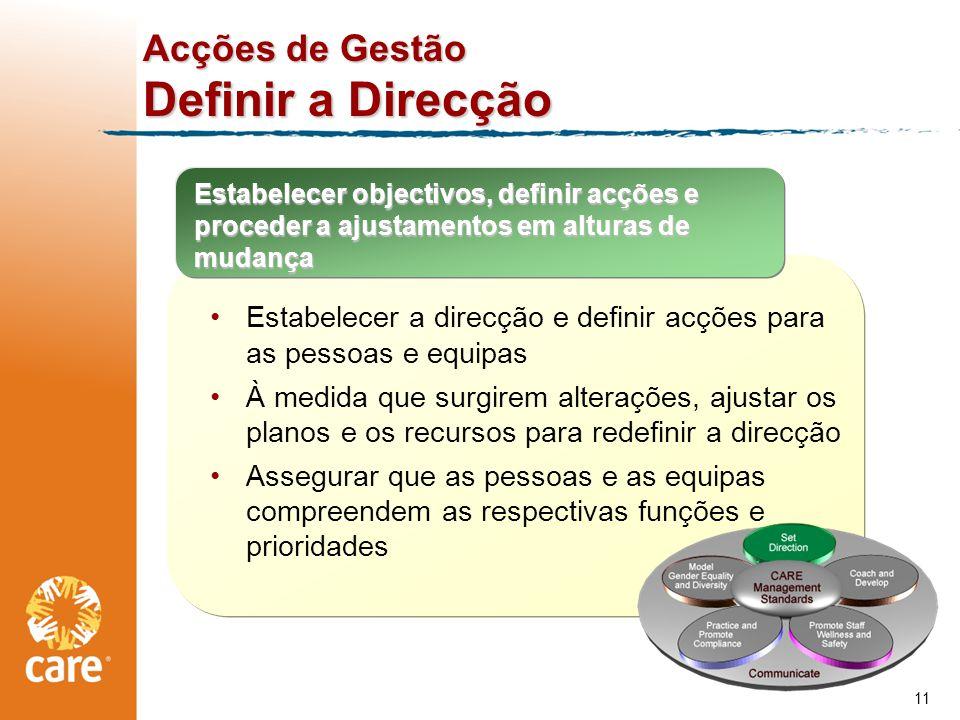 Acções de Gestão Definir a Direcção
