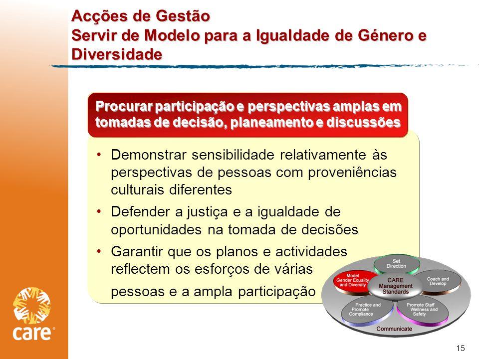 Acções de Gestão Servir de Modelo para a Igualdade de Género e Diversidade