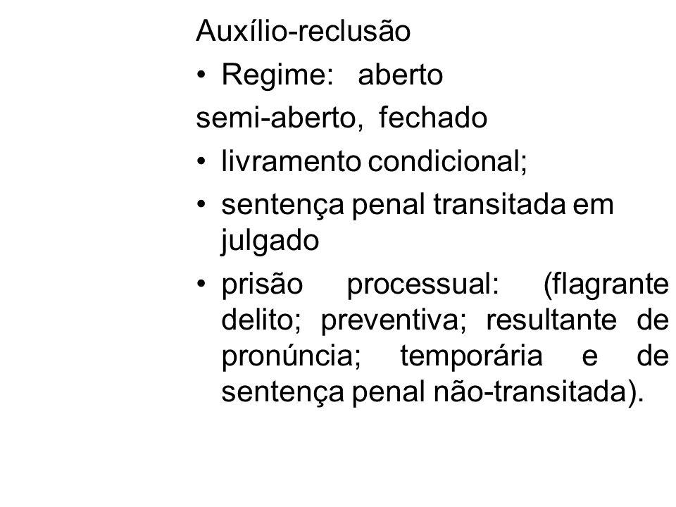 Auxílio-reclusão Regime: aberto. semi-aberto, fechado. livramento condicional; sentença penal transitada em julgado.