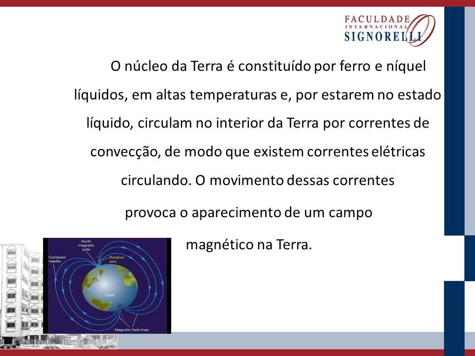 O núcleo da Terra é constituído por ferro e níquel líquidos, em altas temperaturas e, por estarem no estado líquido, circulam no interior da Terra por correntes de convecção, de modo que existem correntes elétricas circulando.