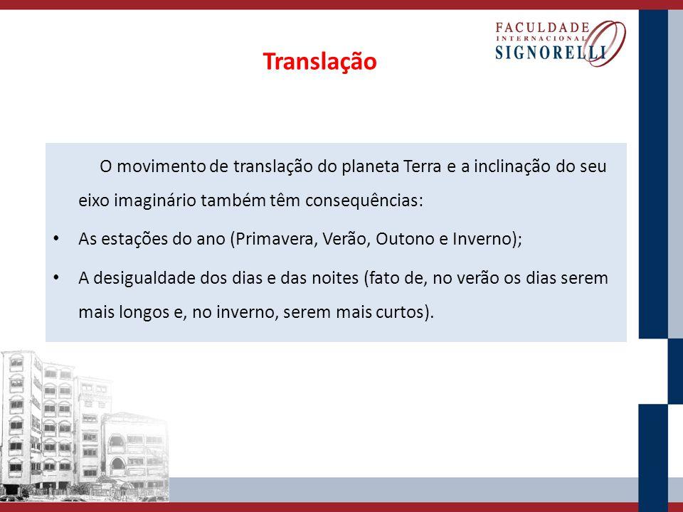 Translação O movimento de translação do planeta Terra e a inclinação do seu eixo imaginário também têm consequências: