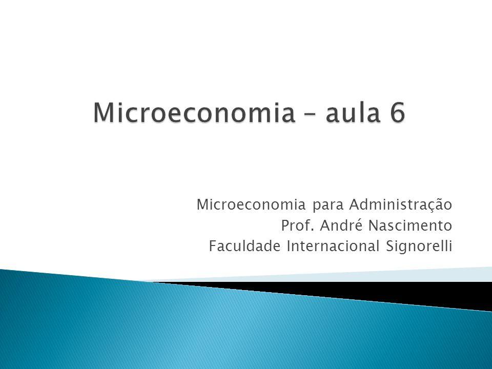 Microeconomia – aula 6 Microeconomia para Administração