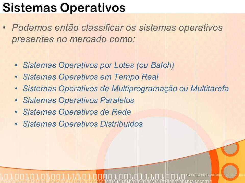 Sistemas Operativos Podemos então classificar os sistemas operativos presentes no mercado como: Sistemas Operativos por Lotes (ou Batch)