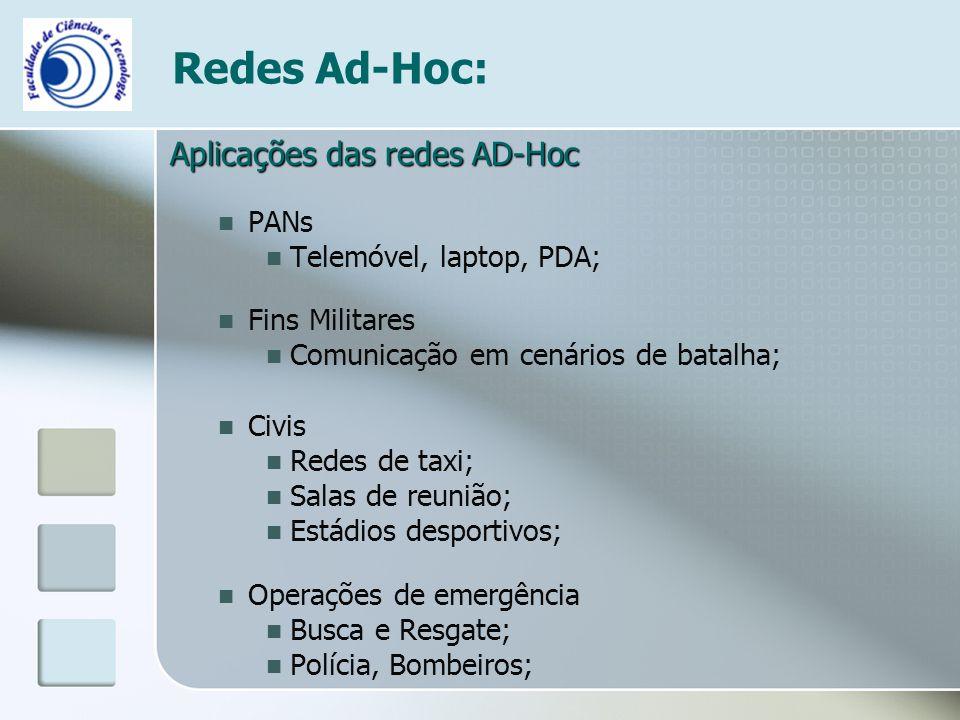 Redes Ad-Hoc: Aplicações das redes AD-Hoc PANs Telemóvel, laptop, PDA;