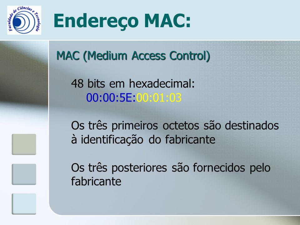 Endereço MAC: MAC (Medium Access Control) 48 bits em hexadecimal: