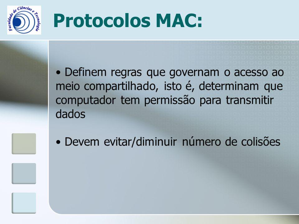 Protocolos MAC: Definem regras que governam o acesso ao meio compartilhado, isto é, determinam que computador tem permissão para transmitir dados.