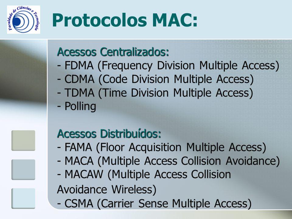 Protocolos MAC: Acessos Centralizados: