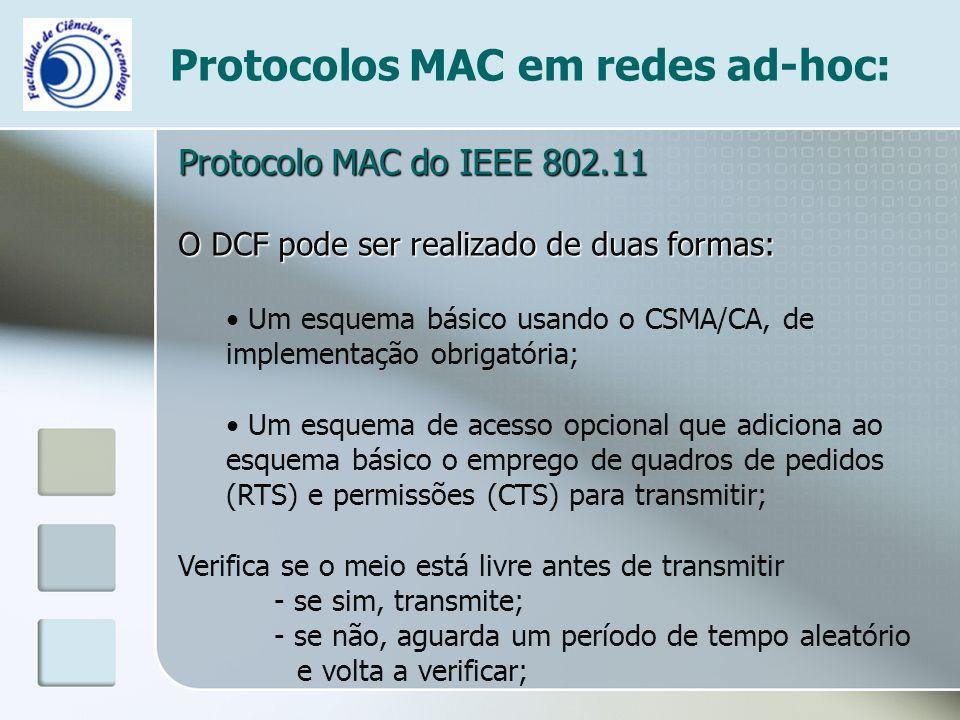 Protocolos MAC em redes ad-hoc: