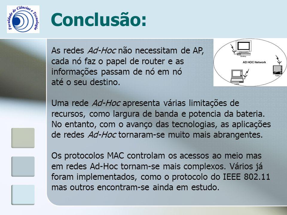 Conclusão: As redes Ad-Hoc não necessitam de AP,