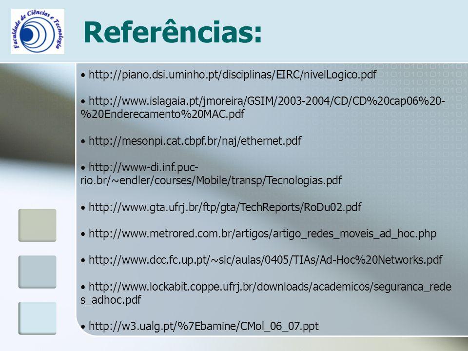 Referências: http://piano.dsi.uminho.pt/disciplinas/EIRC/nivelLogico.pdf.
