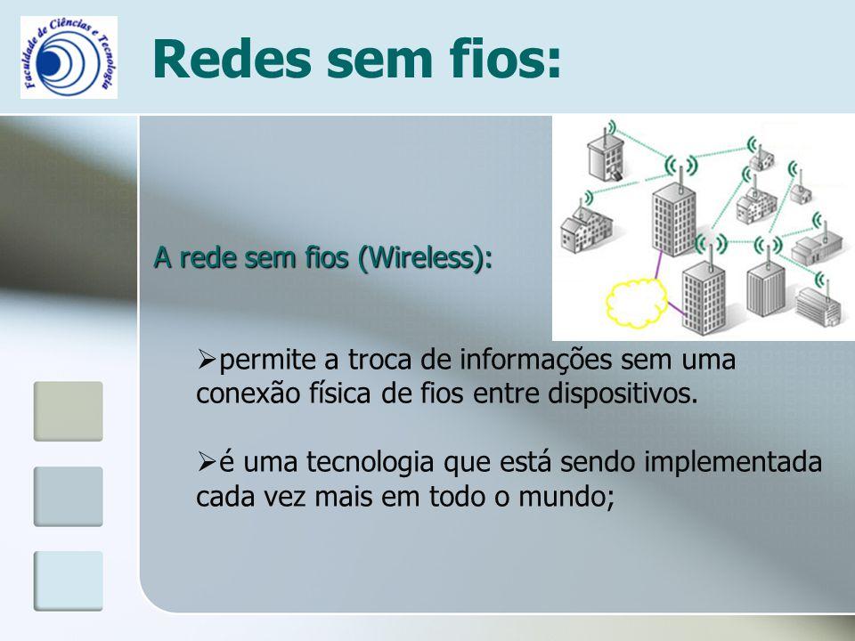 Redes sem fios: A rede sem fios (Wireless):