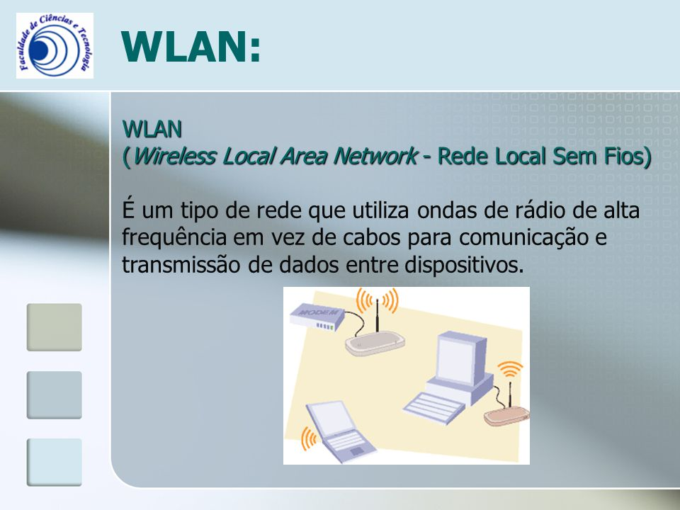 WLAN: WLAN (Wireless Local Area Network - Rede Local Sem Fios)