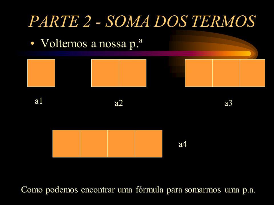 PARTE 2 - SOMA DOS TERMOS Voltemos a nossa p.ª a1 a2 a3 a4