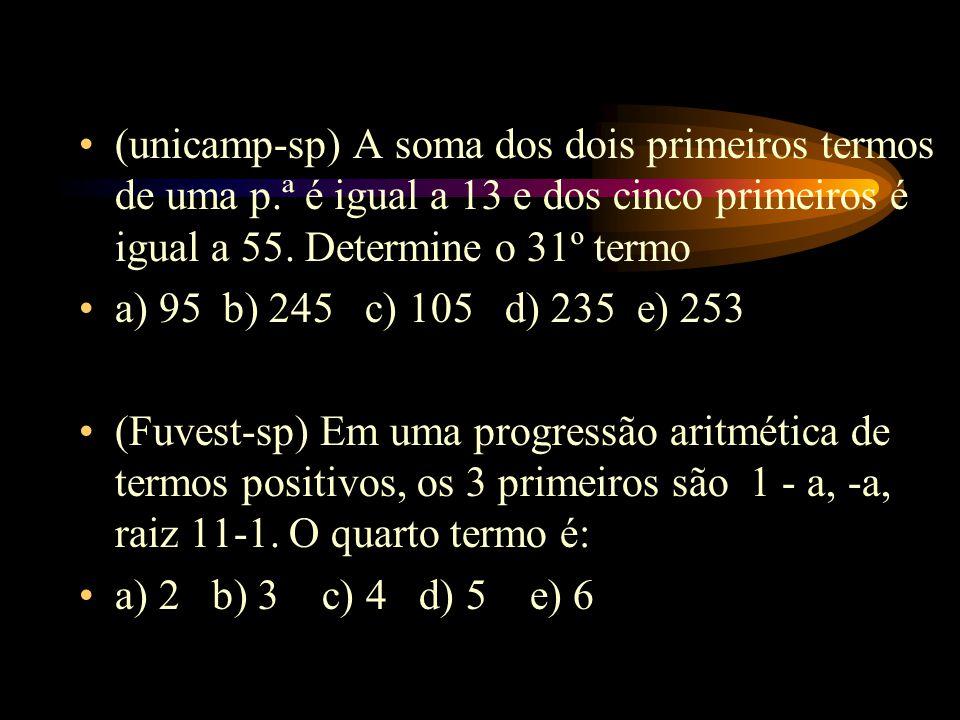 (unicamp-sp) A soma dos dois primeiros termos de uma p