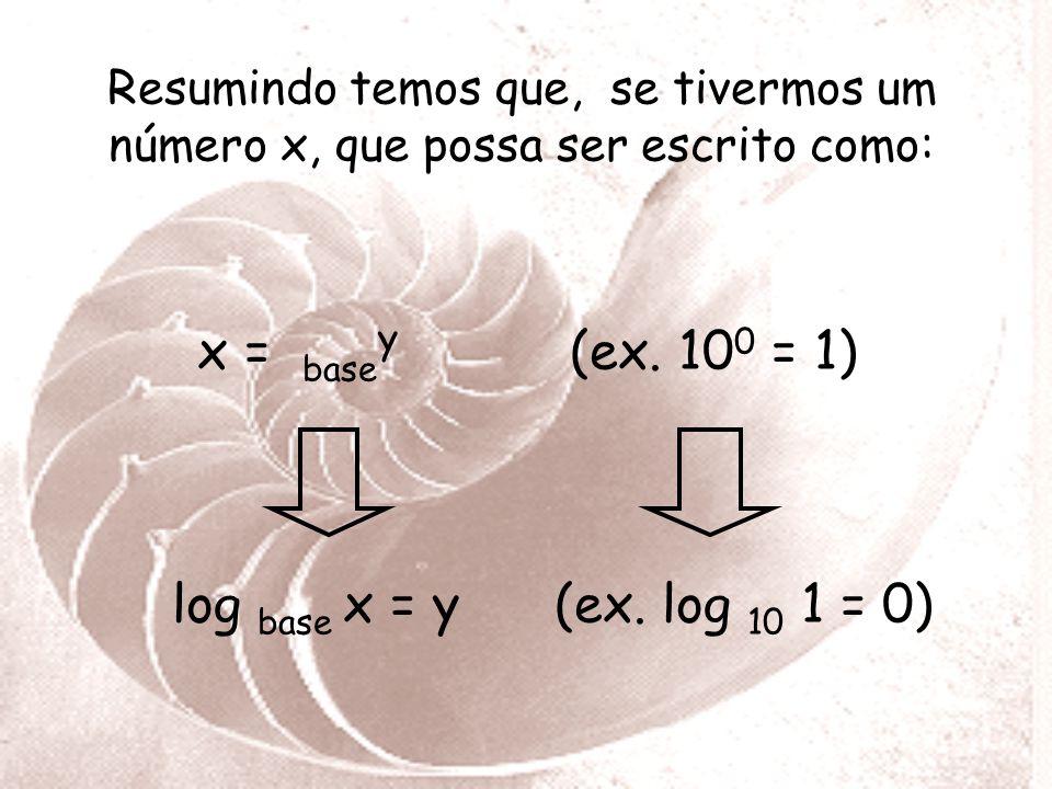 Resumindo temos que, se tivermos um número x, que possa ser escrito como: x = basey (ex.