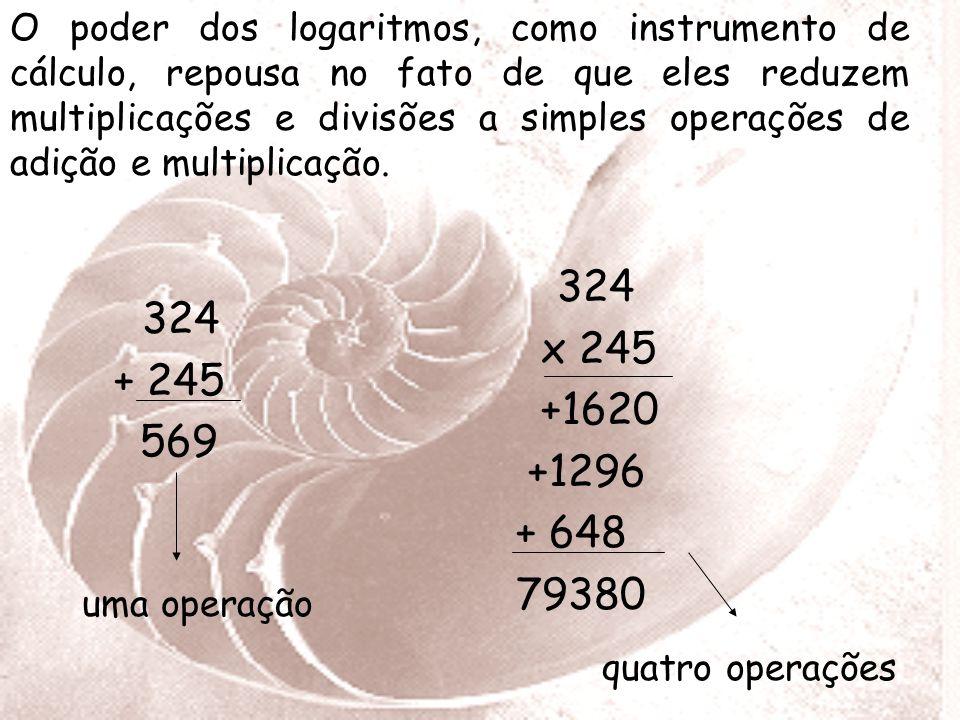 O poder dos logaritmos, como instrumento de cálculo, repousa no fato de que eles reduzem multiplicações e divisões a simples operações de adição e multiplicação.