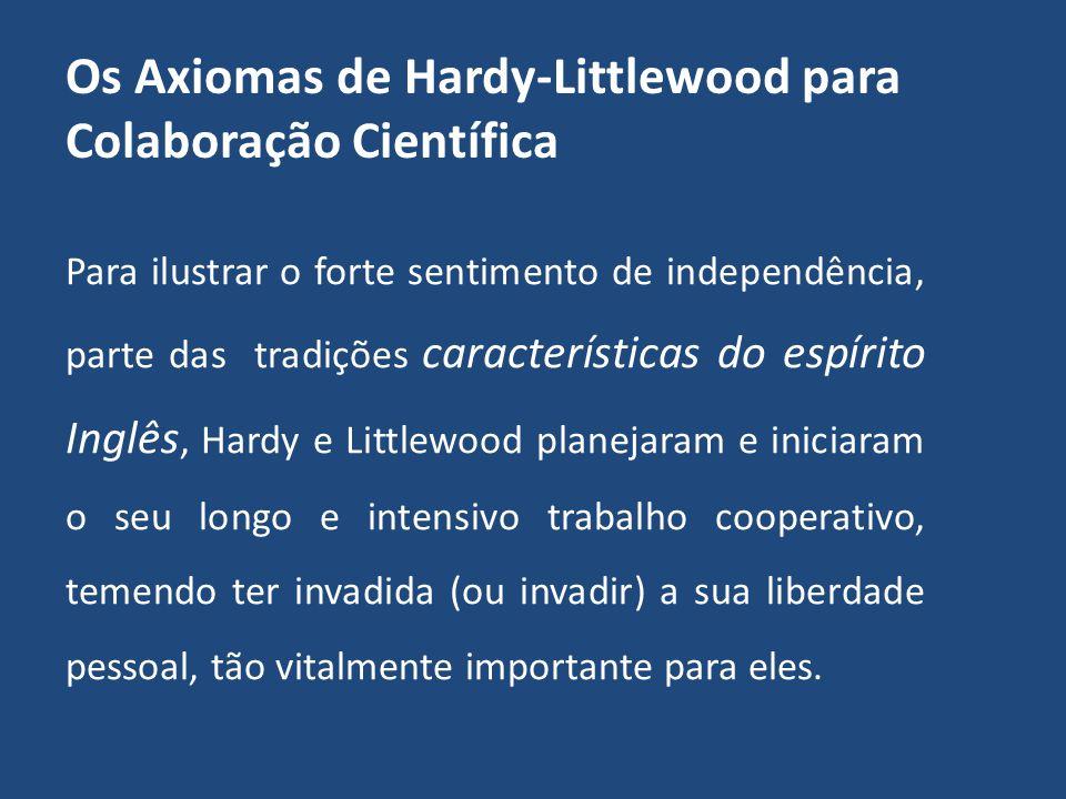 Os Axiomas de Hardy-Littlewood para Colaboração Científica