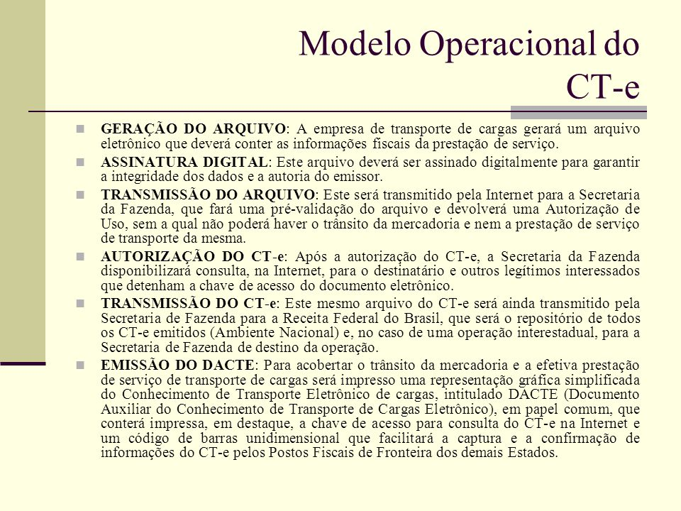 Modelo Operacional do CT-e