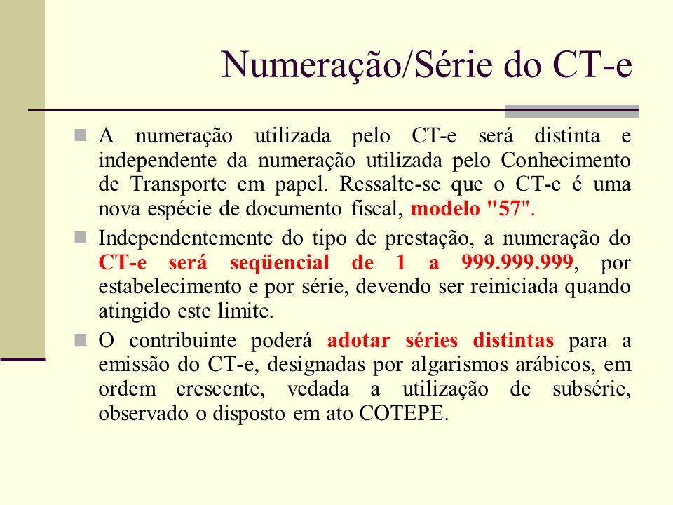 Numeração/Série do CT-e