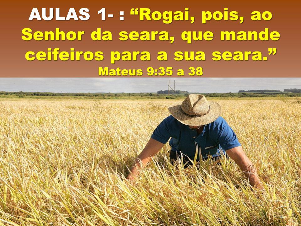 AULAS 1- : Rogai, pois, ao Senhor da seara, que mande ceifeiros para a sua seara. Mateus 9:35 a 38