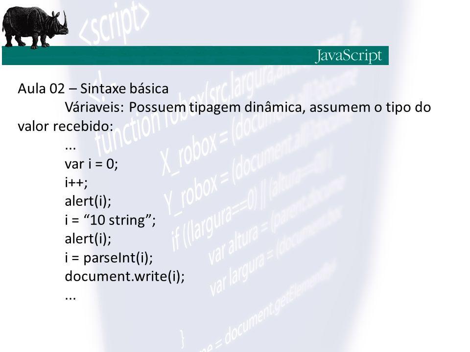Aula 02 – Sintaxe básica Váriaveis: Possuem tipagem dinâmica, assumem o tipo do valor recebido: ...