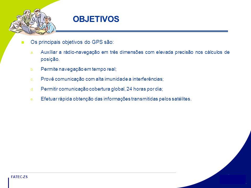 OBJETIVOS Os principais objetivos do GPS são: