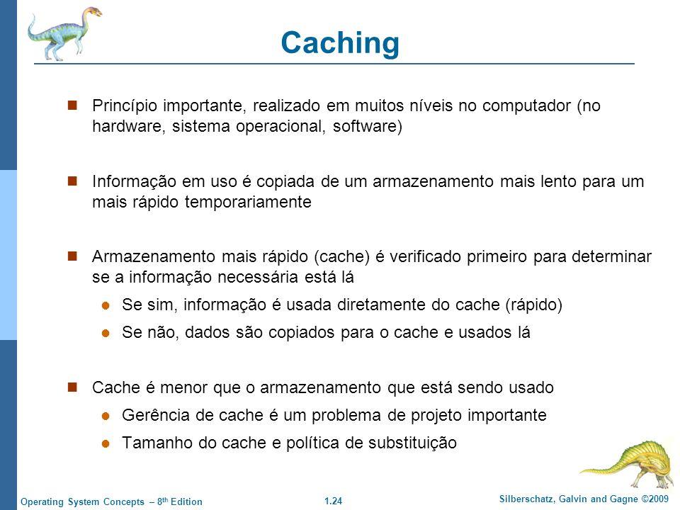 Caching Princípio importante, realizado em muitos níveis no computador (no hardware, sistema operacional, software)