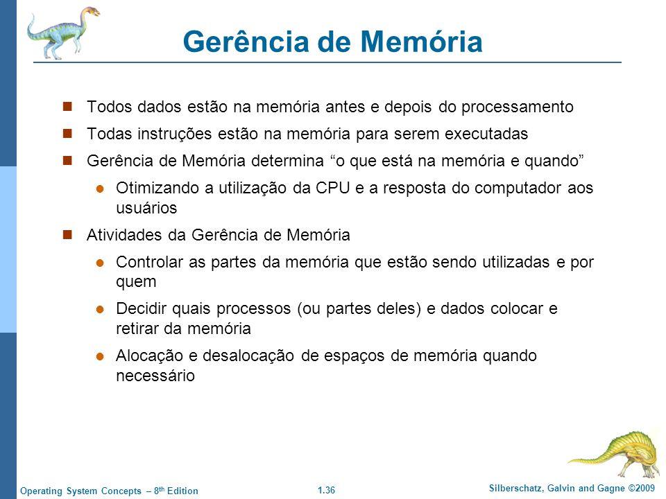 Gerência de Memória Todos dados estão na memória antes e depois do processamento. Todas instruções estão na memória para serem executadas.