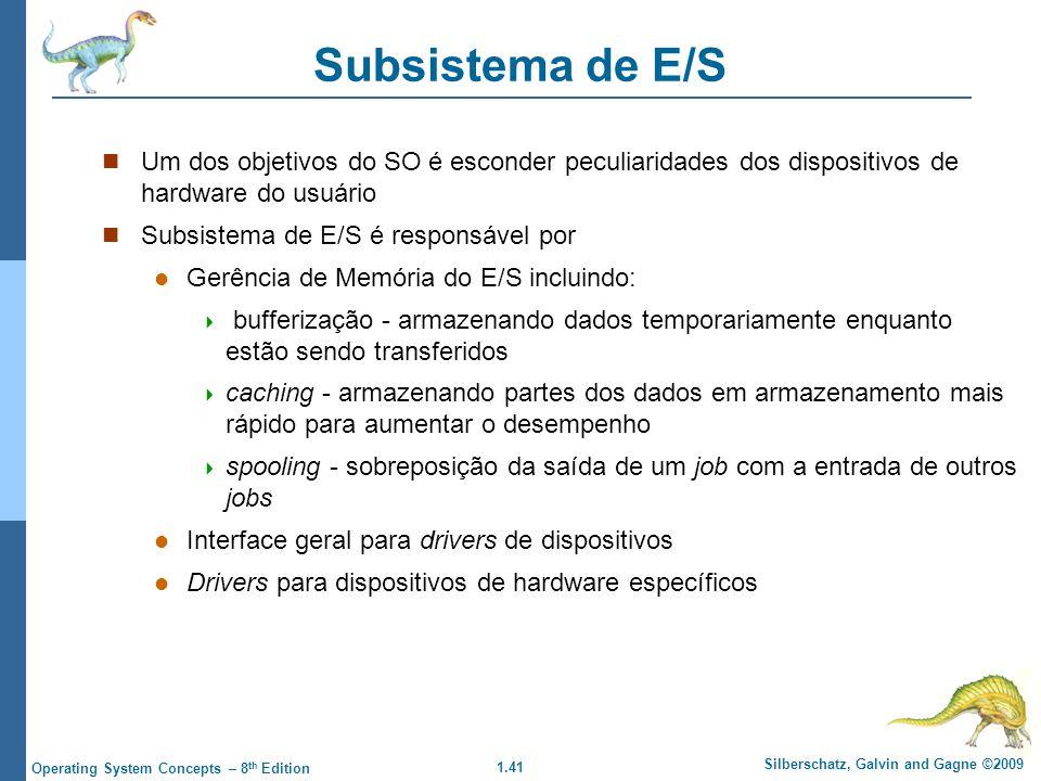 Subsistema de E/S Um dos objetivos do SO é esconder peculiaridades dos dispositivos de hardware do usuário.