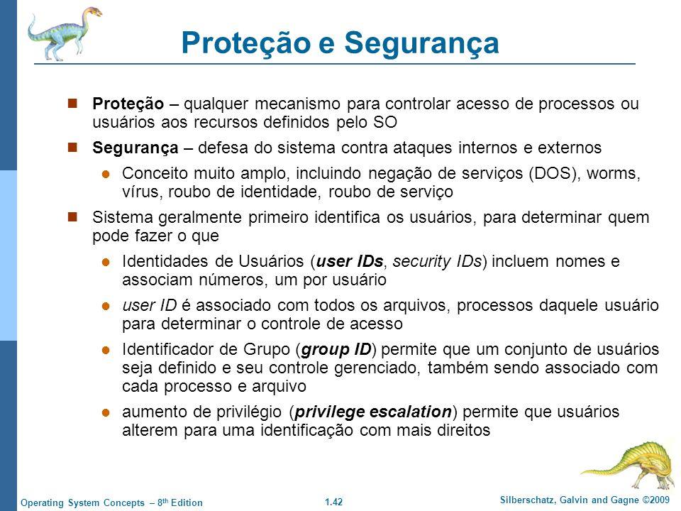 Proteção e Segurança Proteção – qualquer mecanismo para controlar acesso de processos ou usuários aos recursos definidos pelo SO.
