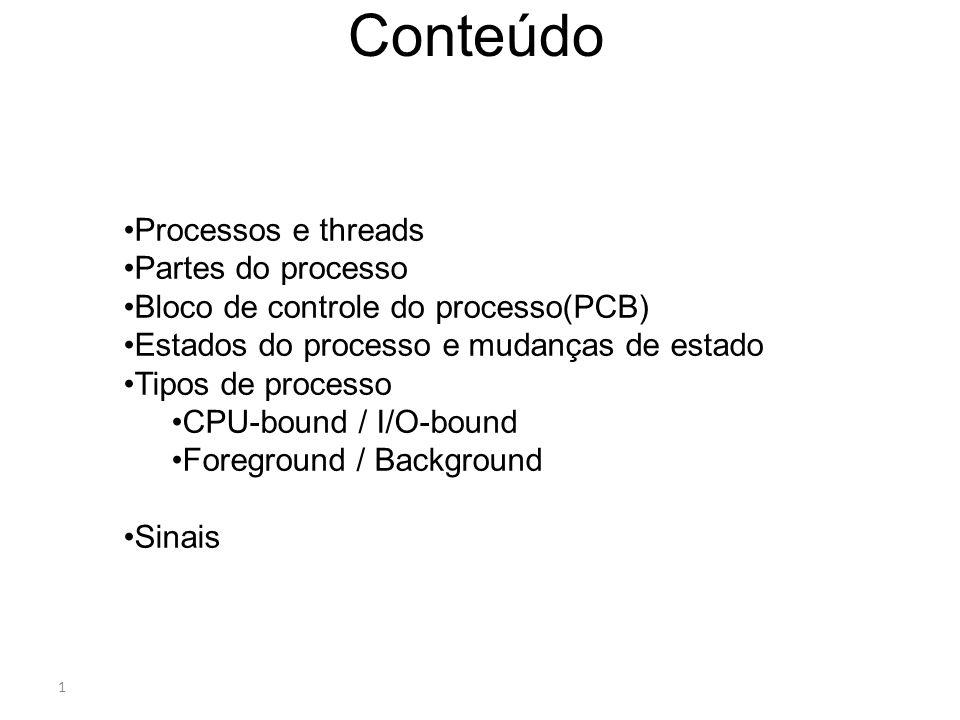 Conteúdo Processos e threads Partes do processo
