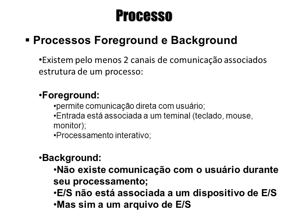 Processo Processos Foreground e Background