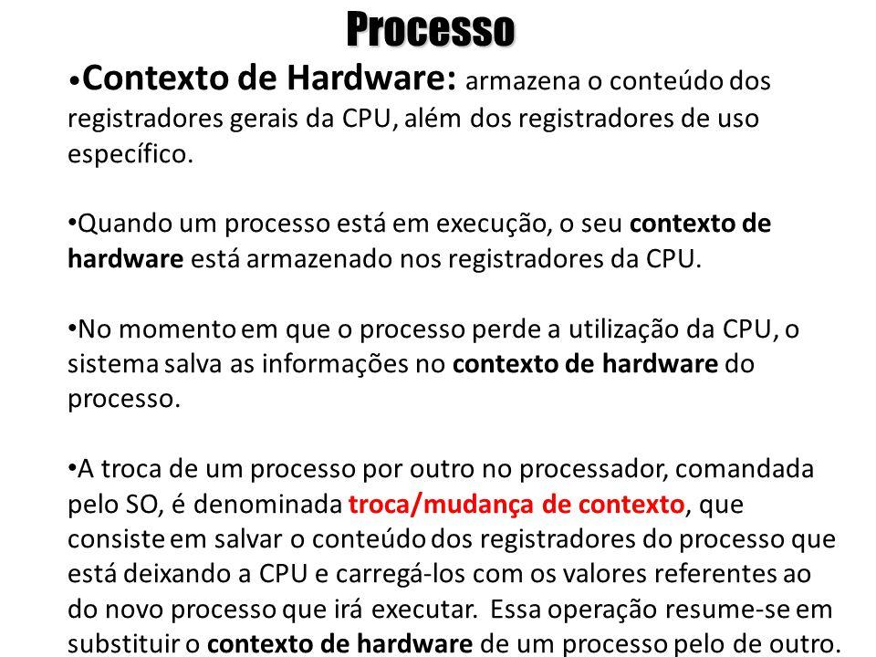 Processo •Contexto de Hardware: armazena o conteúdo dos registradores gerais da CPU, além dos registradores de uso específico.